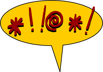 cartoon speech bubble with cursing cussing fake